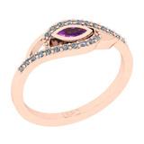 0.27 Ctw I2/I3 Amethyst And Diamond 10K Rose Gold Engagement Ring