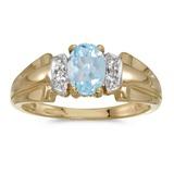 14k Yellow Gold Oval Aquamarine And Diamond Ring 0.57 CTW