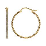 1.18 Ctw I2/I3 Diamond 10k Yellow Gold Hoop Earrings