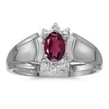 14k White Gold Oval Rhodolite Garnet And Diamond Ring