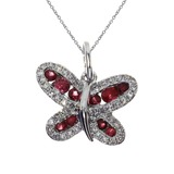 14k White Gold Ruby Butterfly Pendant 0.37 CTW