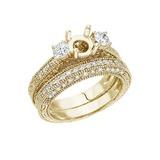 14K Yellow Gold 1 Ct Fashion Bridal Diamond Ring Set