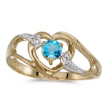 10k Yellow Gold Round Blue Topaz And Diamond Heart Ring 0.27 CTW