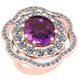 10.06 Ctw Amethyst And Diamond SI2/I1 14k Rose Gold Victorian Style Ring