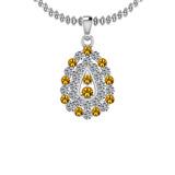 1.15 Ctw VS/SI1 Yellow Sapphire And Diamond 14K White Gold Pendant Necklace