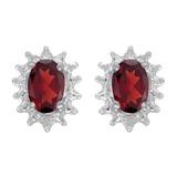 14k White Gold Oval Garnet And Diamond Earrings 0.98 CTW
