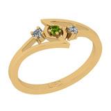 0.10 Ctw I2/I3 Peridot And Diamond 10K Yellow Gold three Stone Ring