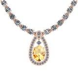 22.22 Ctw Citrine And Diamond I2/I3 14K Rose Gold Pendant Necklace