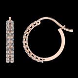0.61 Ctw SI2/I1 Diamond 14K Rose Gold Hoop Earrings