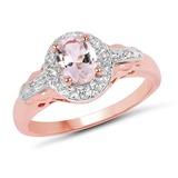 14K Rose Gold Plated 0.73 CTW Genuine Morganite & White Topaz .925 Sterling Silver Ring