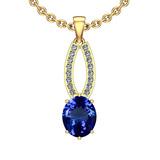 3.62 Ctw VS/SI1 Tanzanite And Diamond 14K Yellow Gold Pendant Necklace