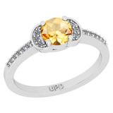 0.68 Ctw I2/I3 Citrine And Diamond 10K White Gold Promises Ring
