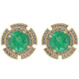 4.44 Ctw I2/I3 Emerald And Diamond 14K Yellow Gold Stud Earrings