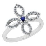 0.38 Ctw I2/I3 Blue Sapphire And Diamond 14K White Gold Ring