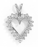14K White Gold and Diamond Heart Pendant (1.50 carat)