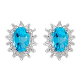 14k Yellow Gold Oval Blue Topaz And Diamond Earrings 0.84 CTW