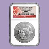 2014 Australia 1 oz Silver Lunar Horse MS-69 NGC (ER)