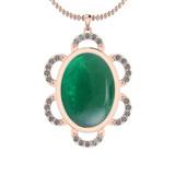 21.34 Ctw VS/SI1 Emerald And Diamond 14K Rose Gold Pendant
