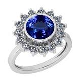 16.10 Ctw VS/SI1 Tanzanite And Diamond Platinum Ring