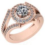 1.58 Ctw VS/SI2 Diamond 14K Rose Gold Halo Ring