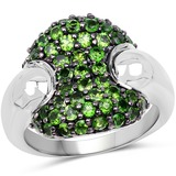 1.82 CTW Genuine Chrome Diopside .925 Sterling Silver Ring