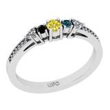 0.28 Ctw I2/I3 Treated Fancy Multi Diamond 14K White Gold Vintage Style Ring