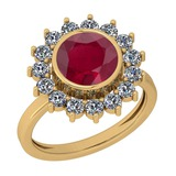 2.87 Ctw VS/SI1 Ruby And Diamond 14K Yellow Gold Vintage Style Ring