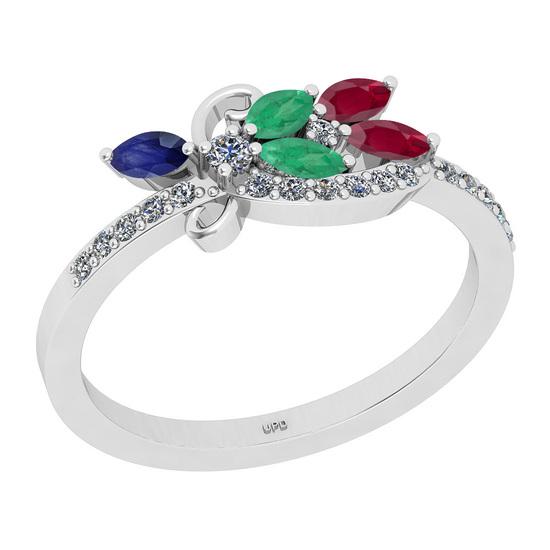 0.66 Ctw I2/I3 Multi Stone And Diamond 14K White Gold Engagement Ring