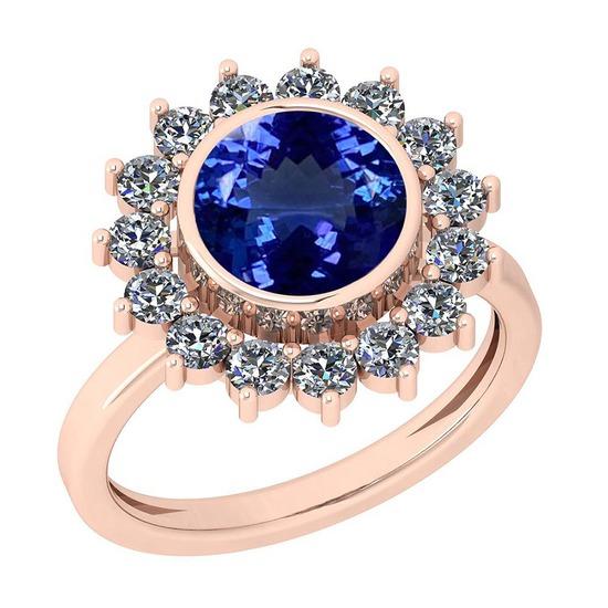16.10 Ctw VS/SI1 Tanzanite And Diamond Platinum 14K Rose Gold Plated Ring