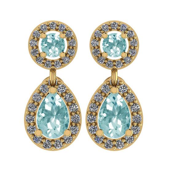 1.57 Ctw I2/I3 Aquamrine And Diamond 14K Yellow Gold Earrings