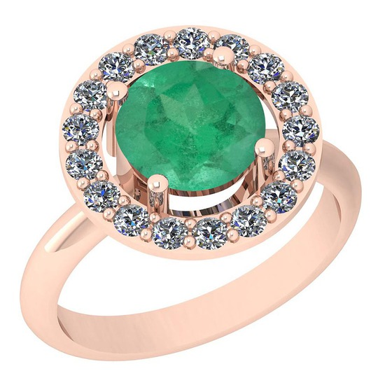 1.42 Ctw VS/SI1 Emerald And Diamond Platinum 14K Rose Gold Plated Ring