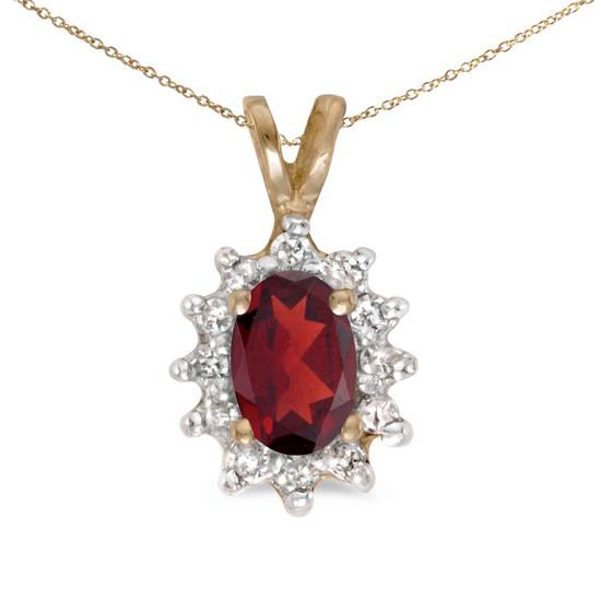 Certified 14k Yellow Gold Oval Garnet And Diamond Pendant