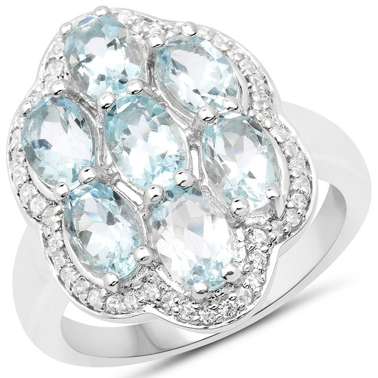 3.09 CTW Genuine Aquamarine and White Zircon .925 Sterling Silver Ring