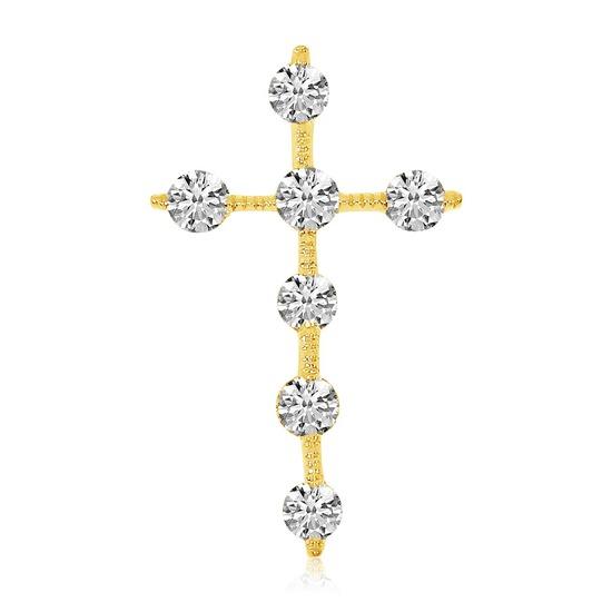 14K Yellow Gold Diamond Cross Pendant