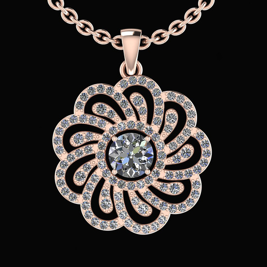 1.14 Ctw I2/I3 Diamond 10K Rose Gold Vintage Style Pendant
