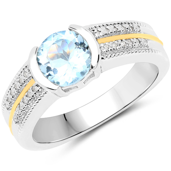 1.37 CTW Genuine Aquamarine and White Diamond 14K Yellow Gold with .925 Sterling Silver Ring
