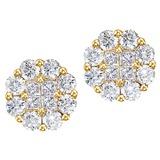 14K Yellow Gold 1.50 CTW Diamond Clustaire Stud Earrings 1.5 CTW