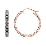 11.20 Ctw I2/I3 Diamond 10k Rose Gold Hoop Earrings