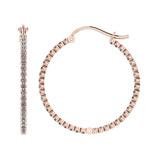 1.18 Ctw I2/I3 Diamond 10k Rose Gold Hoop Earrings