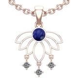0.60 Ctw VS/SI1 Blue Sapphire And Diamond 14K White Gold Pendant