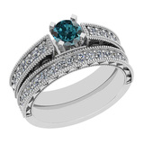1.17 Ctw I2/I3 Treated Fancy Blue And White Diamond 14K White Gold Bridal Wedding Ring