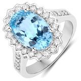 4.94 CTW Genuine Aquamarine and White Diamond 14K White Gold Ring
