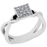 0.31 Ctw I2/I3 Treated Fancy Black And White Diamond 14K White Gold Vintage Style Engagement Ring