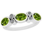 1.64 Ctw Peridot And Diamond I2/I3 14K White Gold three Stone Ring