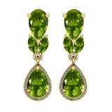 6.79 Ctw VS/SI1 Peridot And Diamond 10K Yellow Gold Dangling Earrings