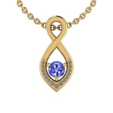 0.62 Ctw VS/SI1 Tanzanite And Diamond 14K Yellow Gold Pendant