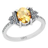 1.71 Ctw I2/I3 Citrine And Diamond 10K White Gold Promises Ring