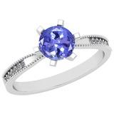 0.66 Ctw VS/SI1 Tanzanite And Diamond 14K White Gold Ring