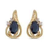 14k Yellow Gold Oval Sapphire And Diamond Teardrop Earrings 0.82 CTW