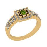 0.50 Ctw I2/I3 Peridot And Diamond 10K Yellow Gold Poker Style Ring
